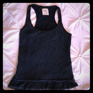 HOLLISTER navy floral overlay lace tank, small